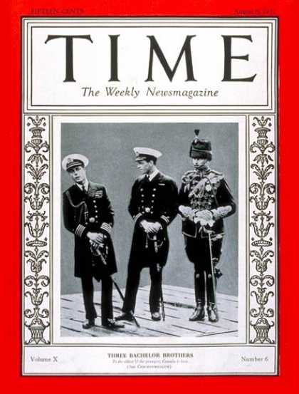 Time - Prince Edward, Prince Henry & Prince George - Aug. 8, 1927 - Royalty - Great Bri