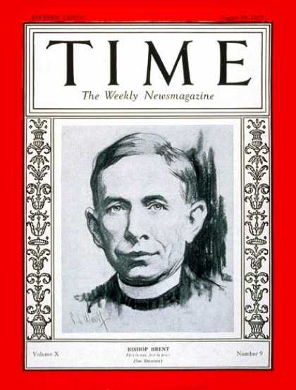 Time - Aug. 29, 1927 - World War I - Religion