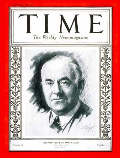 Time - E. Phillips Oppenheim - Sep. 12, 1927 - Books