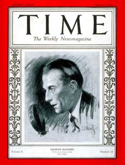 Time - Graham McNamee - Oct. 3, 1927 - Broadcasting - Radio - Sports