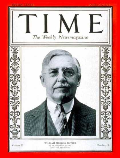 Time - William Morgan Butler - Oct. 10, 1927 - Politics