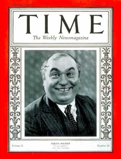 Time - Nikita Balieff - Oct. 17, 1927 - Theater
