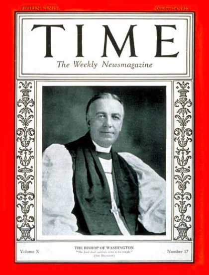 Time - Oct. 24, 1927 - Religion
