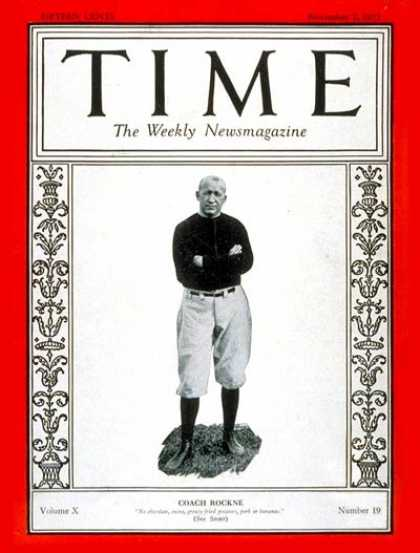 Time - Knute Rockne - Nov. 7, 1927 - Football - Notre Dame - Sports