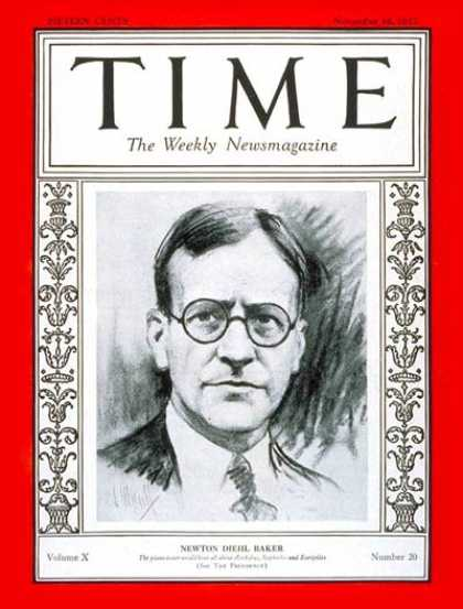 Time - Newton D. Baker - Nov. 14, 1927 - World War I - Democrats