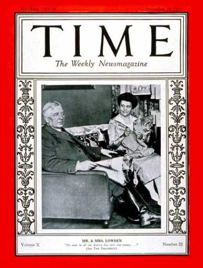 Time - Frank O. Lowden - Nov. 28, 1927 - Frank Lowden - Politics