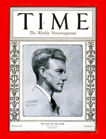 Time - Charles Lindbergh, Man of the Year - Jan. 2, 1928 - Charles Lindbergh - Person o