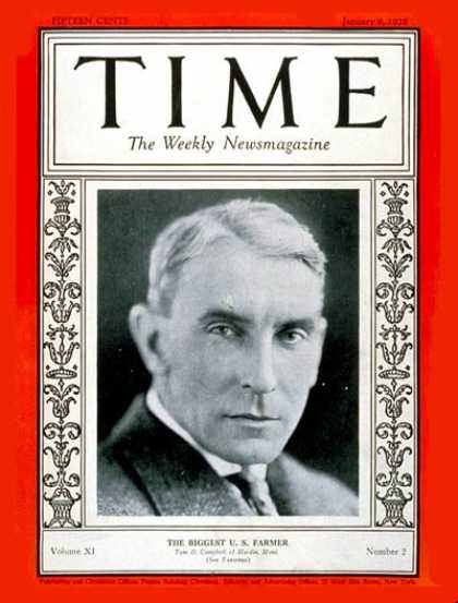 Time - Thomas Campbell - Jan. 9, 1928 - Farmers - Agriculture - Business