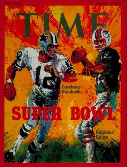 Time - Roger Staubach and Bob Griese - Jan. 17, 1972 - Football - Super Bowl - Miami -