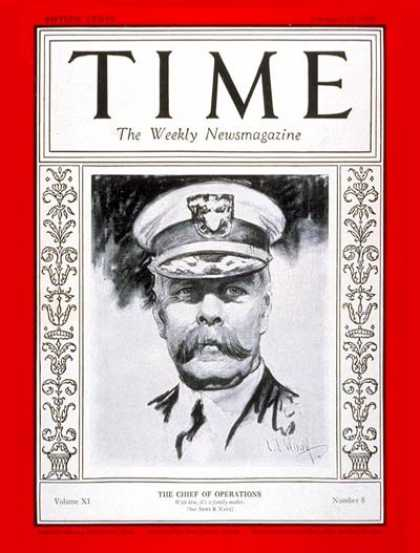Time - Admiral Charles Hughes - Feb. 20, 1928 - Admirals - Navy - Military
