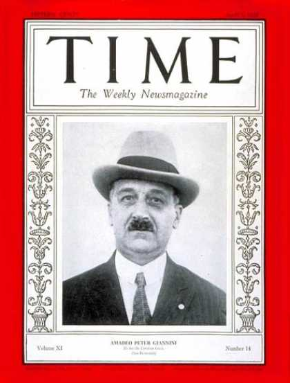Time - Amadeo Peter Giannini - Apr. 2, 1928 - Banking - Agriculture