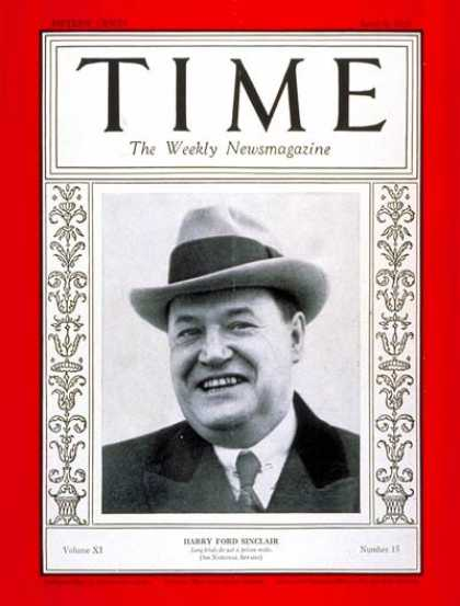 Time - Harry F. Sinclair - Apr. 9, 1928 - Finance - Business