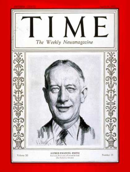 Time - Alfred E. Smith - Apr. 30, 1928 - Politics - Presidential Elections - Democrats