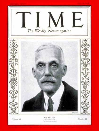 Time - Andrew W. Mellon - May 28, 1928 - Finance - Philanthropy - Business