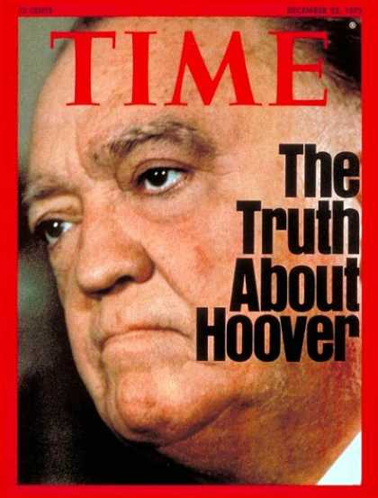 Time - J. Edgar Hoover - Dec. 22, 1975 - Law Enforcement - Crime - FBI