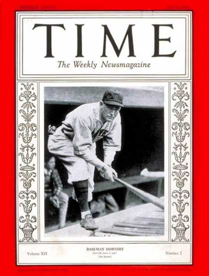Time - Rogers Hornsby - July 9, 1928 - Baseball - Sports