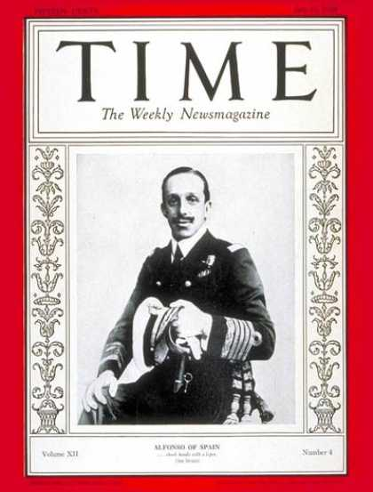 Time - King Alfonso XIII - July 23, 1928 - Royalty - Spain