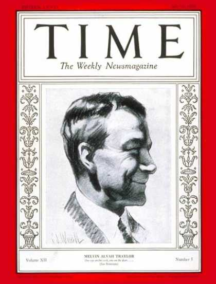 Time - Melvin A. Traylor - July 30, 1928 - M. A. Traylor - Business - Finance - Politic