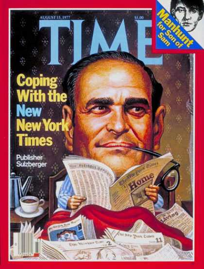 Time - Arthur Sulzberger - Aug. 15, 1977 - Journalism - Newspapers - Media