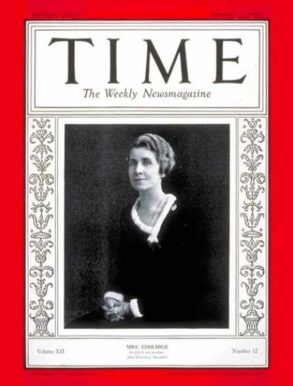 Time - Mrs. Calvin Coolidge - Sep. 17, 1928 - First Ladies