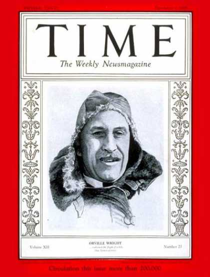 Time - Orville Wright - Dec. 3, 1928 - Aviation - Transportation