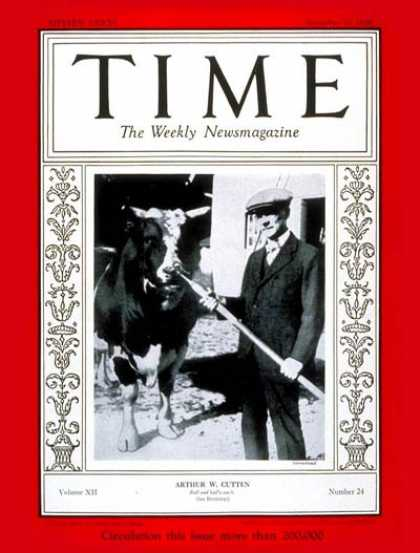 Time - Arthur W. Cutten - Dec. 10, 1928 - Finance - Business