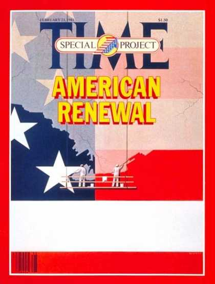 Time - American Renewal - Feb. 23, 1981 - Society - Economy - American Flag