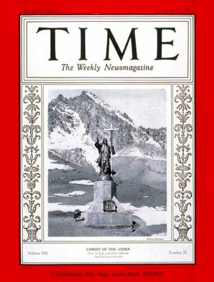 Time - Christ of the Andes - Dec. 17, 1928 - Religion - Christianity