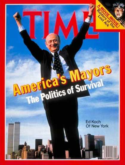 Time - Mayor Ed Koch - June 15, 1981 - Mayors - Cities - New York - Politics