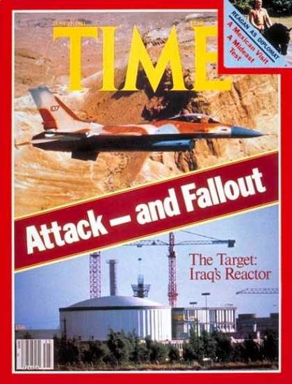 Time - Israel's Attack on Iraq - June 22, 1981 - Israel - Iraq - Middle East
