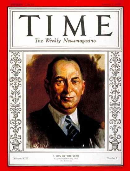 Time - Walter P. Chrysler, Man of the Year - Jan. 7, 1929 - Walter P. Chrysler - Person