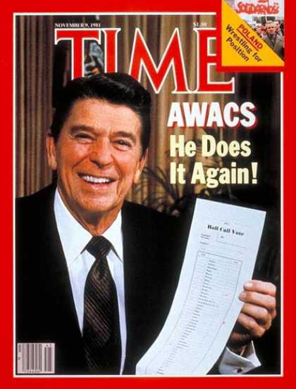 Time - Reagan's AWACS Victory - Nov. 9, 1981 - U.S. Presidents - Economy - Politics - R