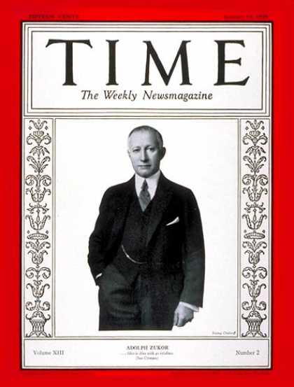 Time - Adolph Zukor - Jan. 14, 1929 - Movies