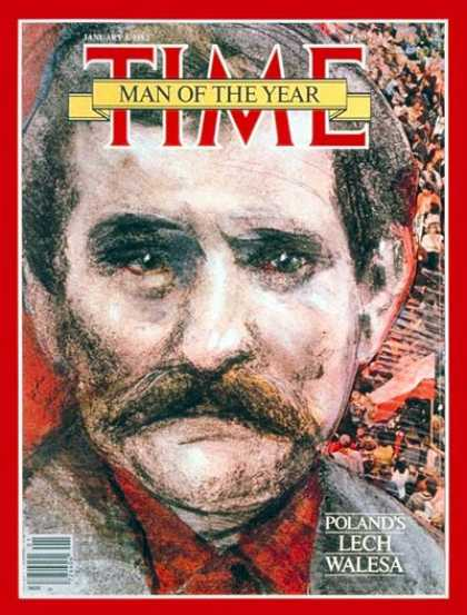 Time - Lech Walesa, Man of the Year - Jan. 4, 1982 - Person of the Year - Poland - Comm