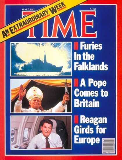 Time - Falklands, the Pope, Ronald Reagan - June 7, 1982 - Pope John Paul II - Ronald R