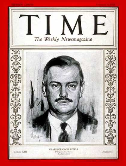 Time - Clarence C. Little - Feb. 4, 1929 - Cancer - Disease - Medical Research - Health