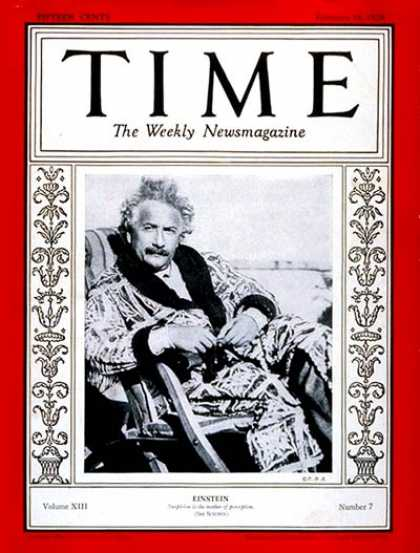 Time - Albert Einstein - Feb. 18, 1929 - Physicists - Science & Technology