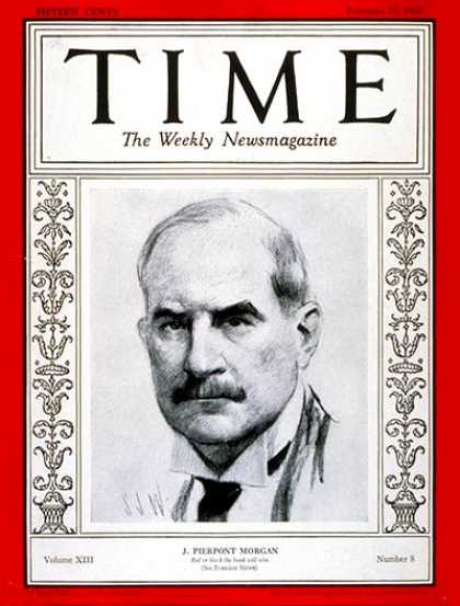 Time - J. Pierpont Morgan - Feb. 25, 1929 - Finance - Business