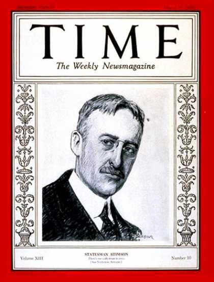 Time - Henry L. Stimson - Mar. 11, 1929 - Politics