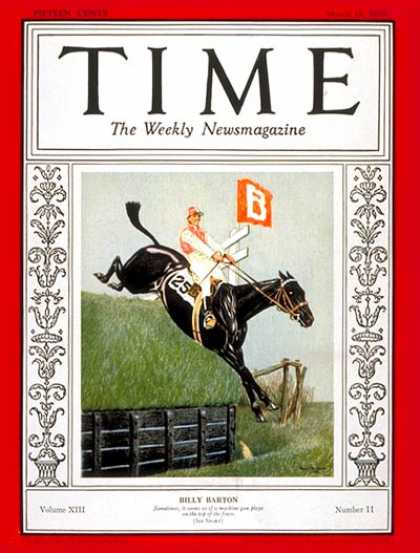 Time - Billy Barton - Mar. 18, 1929 - Horse Racing - Sports