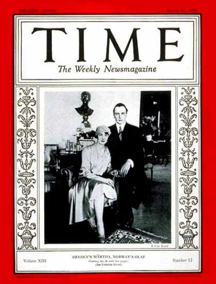 Time - Crown Prince Olaf and Princess M�rtha - Mar. 25, 1929 - Royalty - Norway