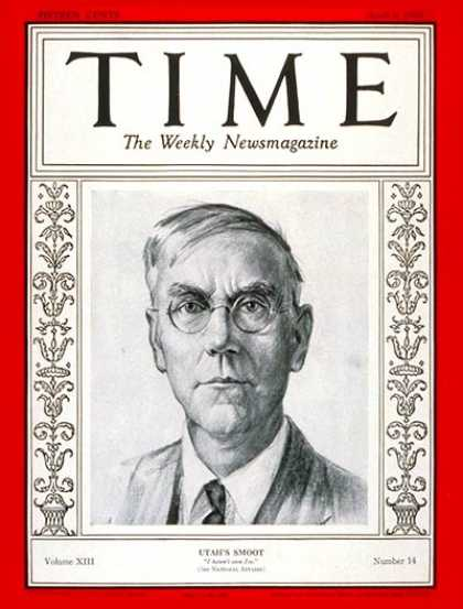 Time - Senator Reed Smoot - Apr. 8, 1929 - Congress - Senators - Utah - Politics