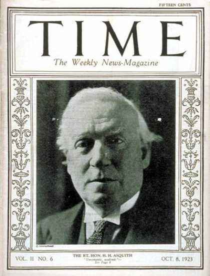 Time - Herbert H. Asquith - Oct. 8, 1923 - Great Britain