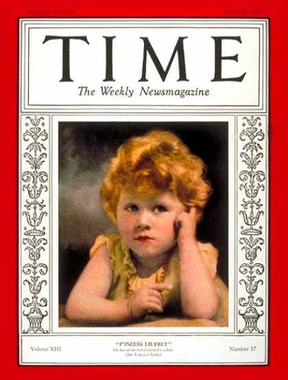 Time - Princess Elizabeth - Apr. 29, 1929 - Queen Elizabeth II - Royalty - Great Britai