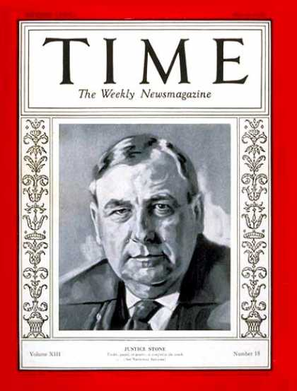 Time - Harlan F. Stone - May 6, 1929 - Supreme Court - Law