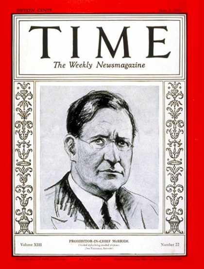 Time - Francis S. McBride - June 3, 1929 - Prohibition