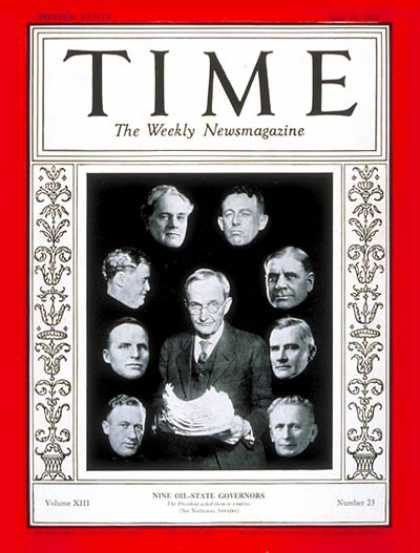 Time - Oil State Governors - June 10, 1929 - Governors - Oil - Politics