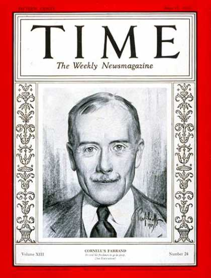 Time - Livingston Farrand - June 17, 1929 - Health & Medicine