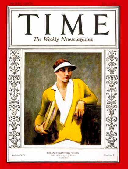 Time - Helen Wills - July 1, 1929 - Tennis - Women - Sports
