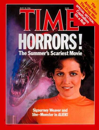 Time - Sigourney Weaver - July 28, 1986 - Actresses - Movies